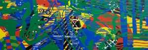 Abstract Disks I (Tarrvi Laamann, 2014, oil, canvas, 420x148cm)