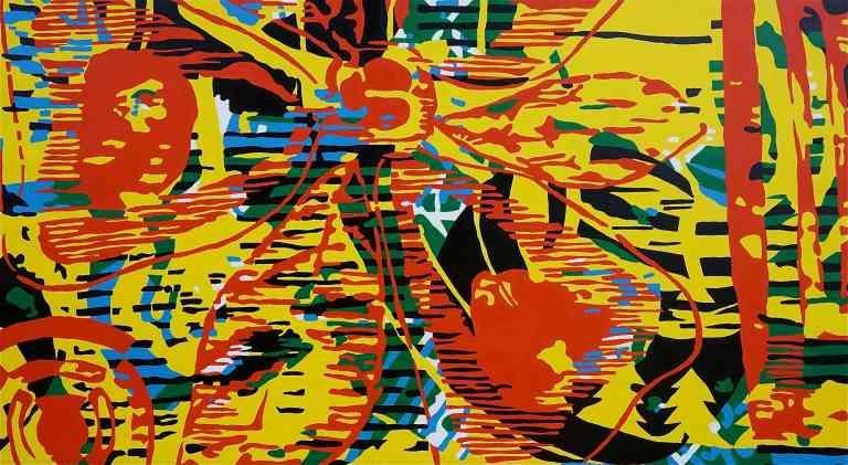 Abstract Disks II (Tarrvi Laamann, 2014, oil, canvas, 266x148cm)