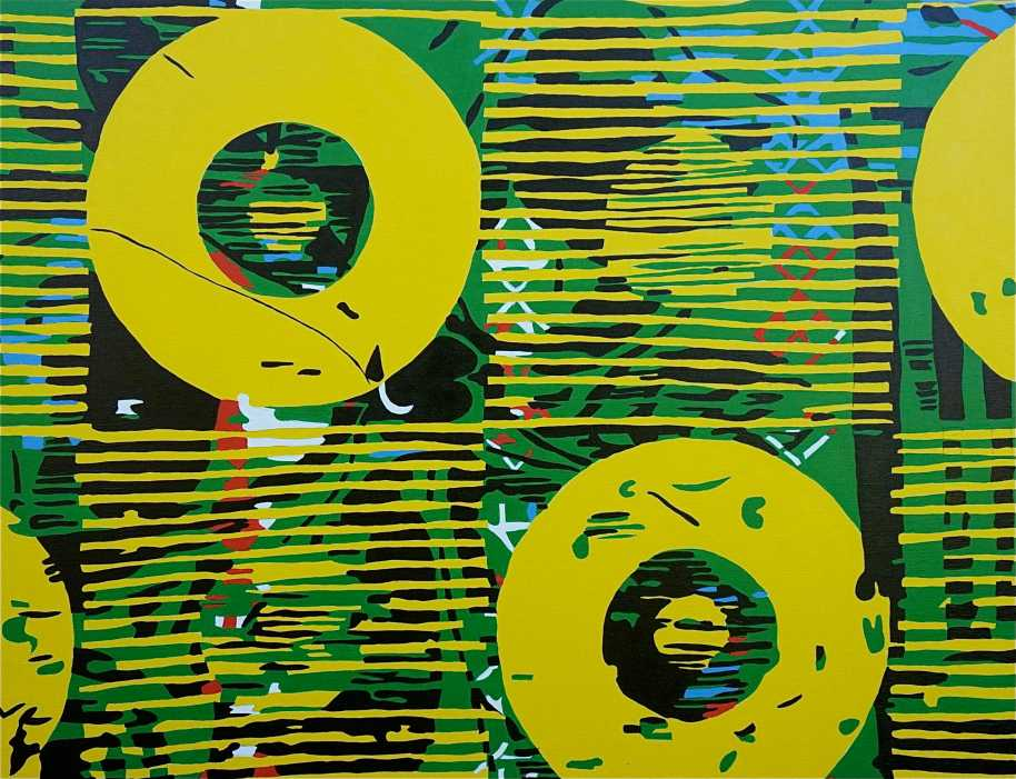 Abstract Disks III (Tarrvi Laamann, 2014, oil, canvas, 420x148cm)